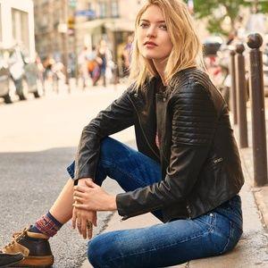 Free People Collarless Vegan Leather Jacket